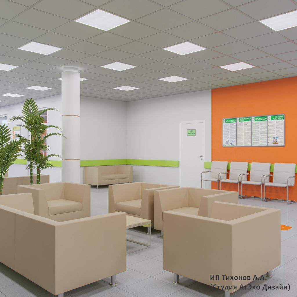 Дизайн-проект единого стиля детских стоматологических поликлиник Москвы холл ожидания в оранжевом цвете
