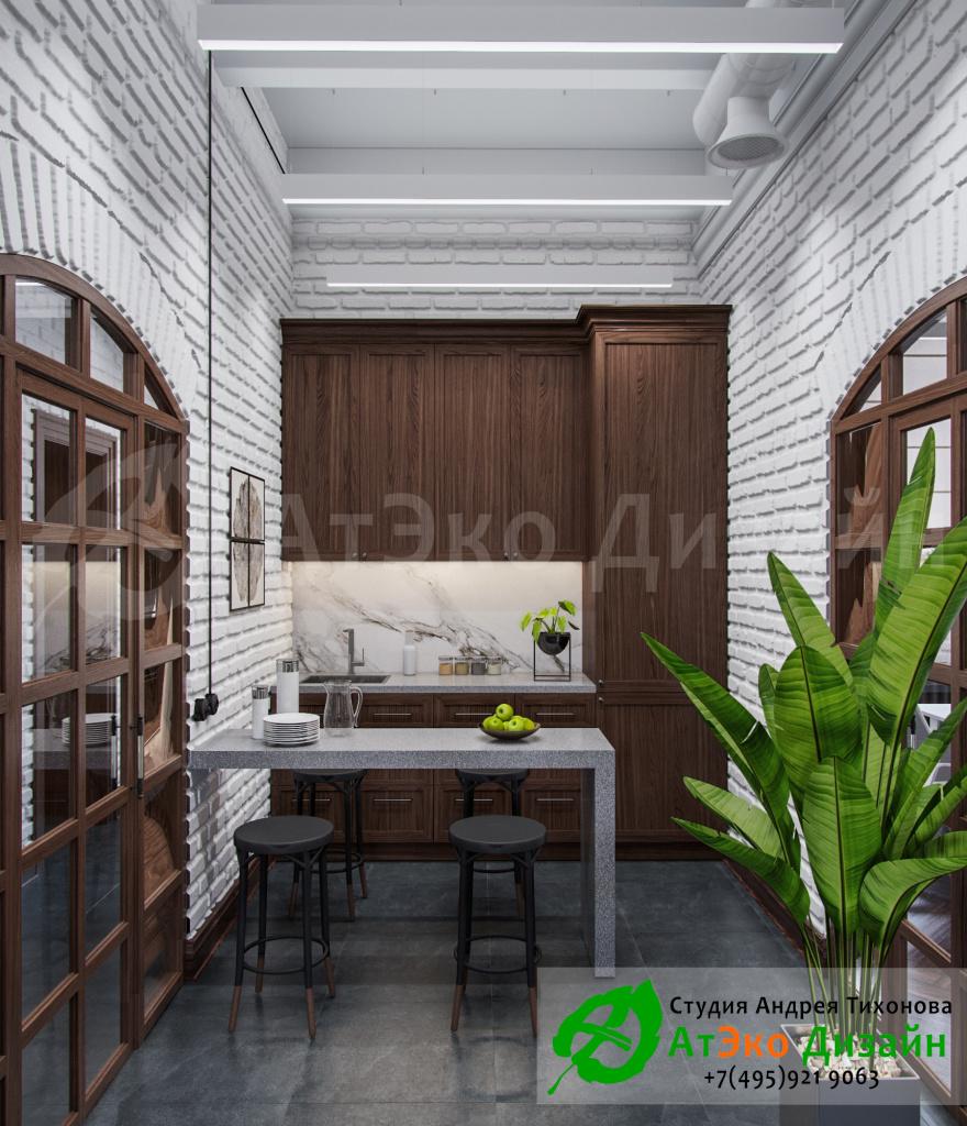 Дизайн-проект офисной кухни в БЦ Московский шёлк