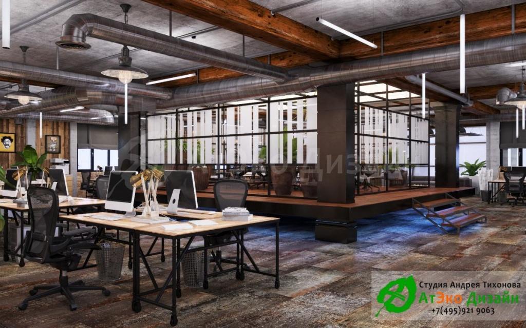 офис в стиле лофт - студия АтЭко Дизайн