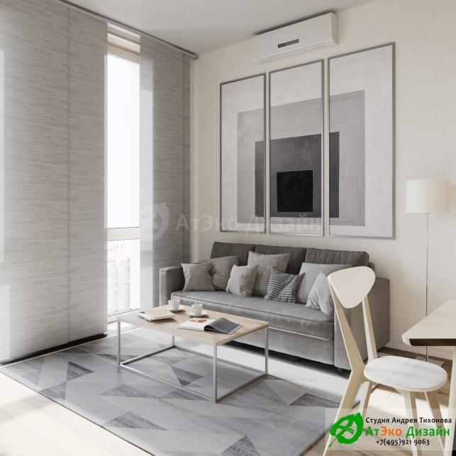 Сколково медовая дизайн гостиной с диваном