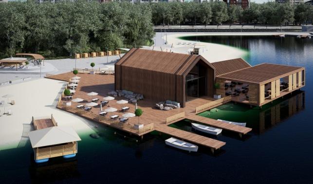 Большие садовые пруды архитектурный проект с лодочной станцией