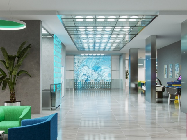 0Дизайн-проект зоны ресепшен отеля М1 Сколково 2 вариант