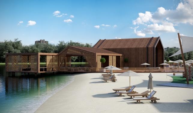 Большие садовые пруды архитектурный проект пляжная зона