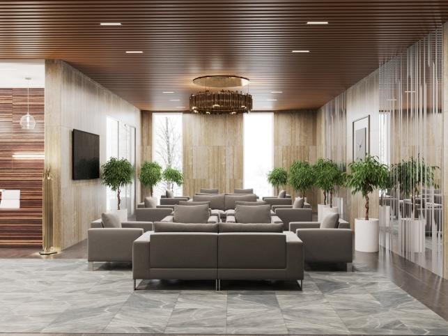 Дизайн-проект зоны ресепшен апартаментов М1 Сколково 3 вариант