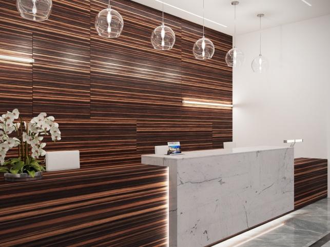 Дизайн-проект зоны ресепшен комплекс апартаментов М1 Сколково 4 вариант