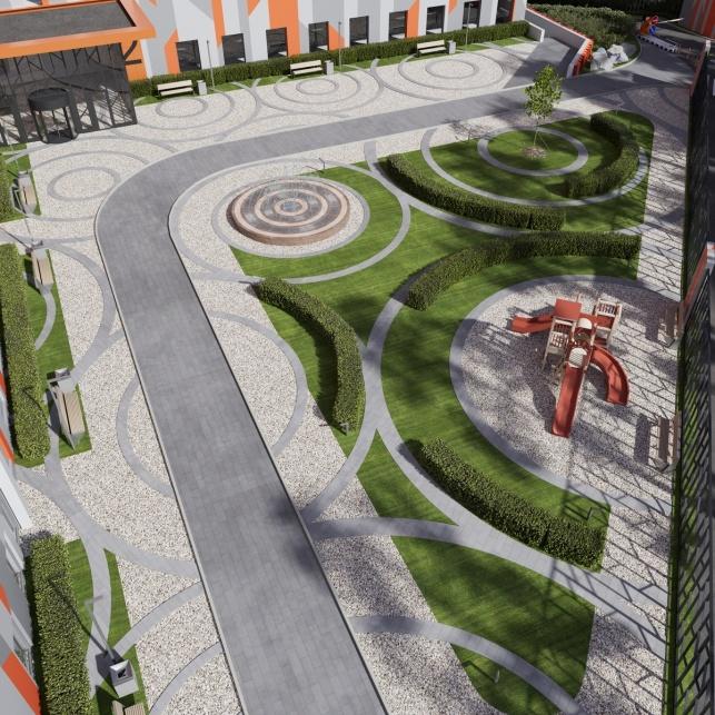 Архитектурный проект комплекса апартаментов М1 Сколково территория двора
