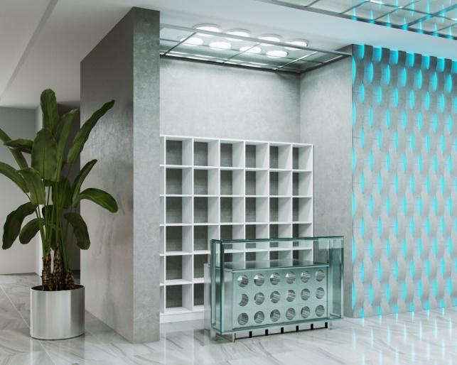 Дизайн-проект зоны ресепшен отеля М1 Сколково 2 вариант