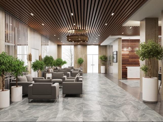 Дизайн-проект зоны ресепшен апартаментов отеля М1 Сколково 3 вариант