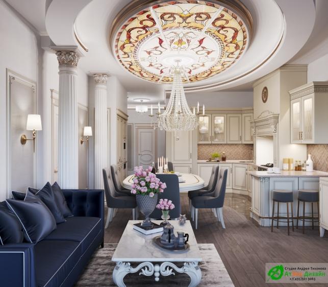 Апартаменты Триколор Гостиная Кухня дизайн проект