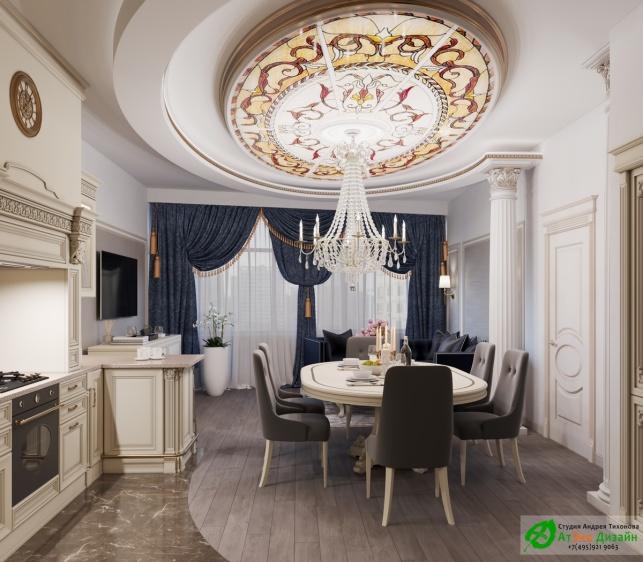 Апартаменты Триколор Гостиная кухня, гостиничная дизайн проект