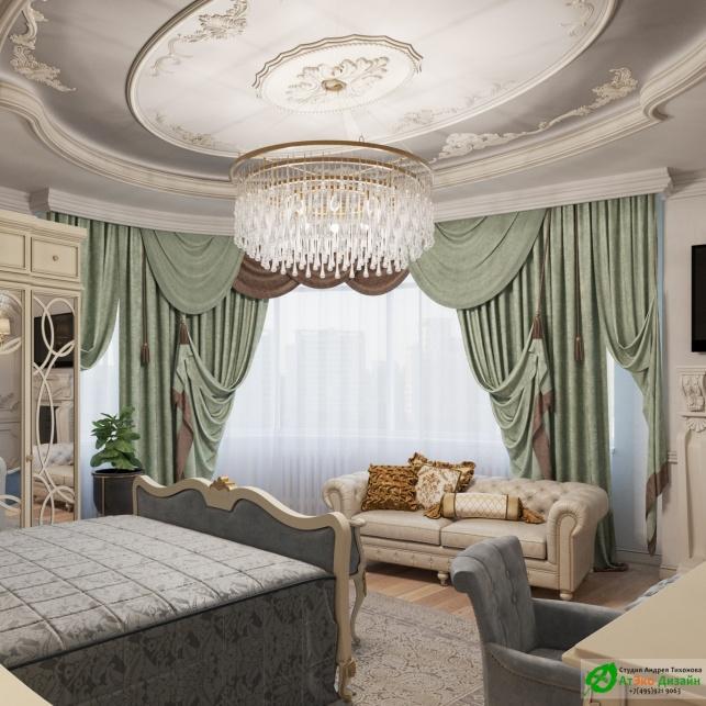 Апартаменты Триколор большая спальня дизайн проект