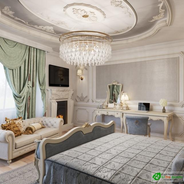 Апартаменты Триколор спальня готовый дизайн проект
