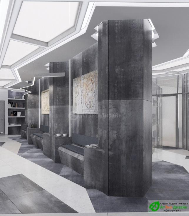 Дизайн проект АСТ-Клиник ресепшен холл зал ожидания