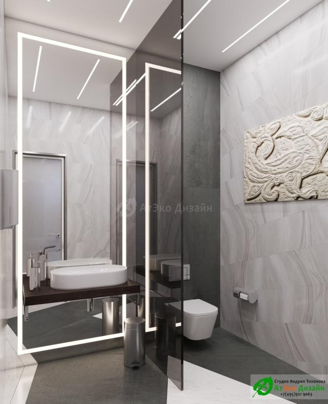 Дизайн проект АСТ-Клиник интерьер санузла для клиентов